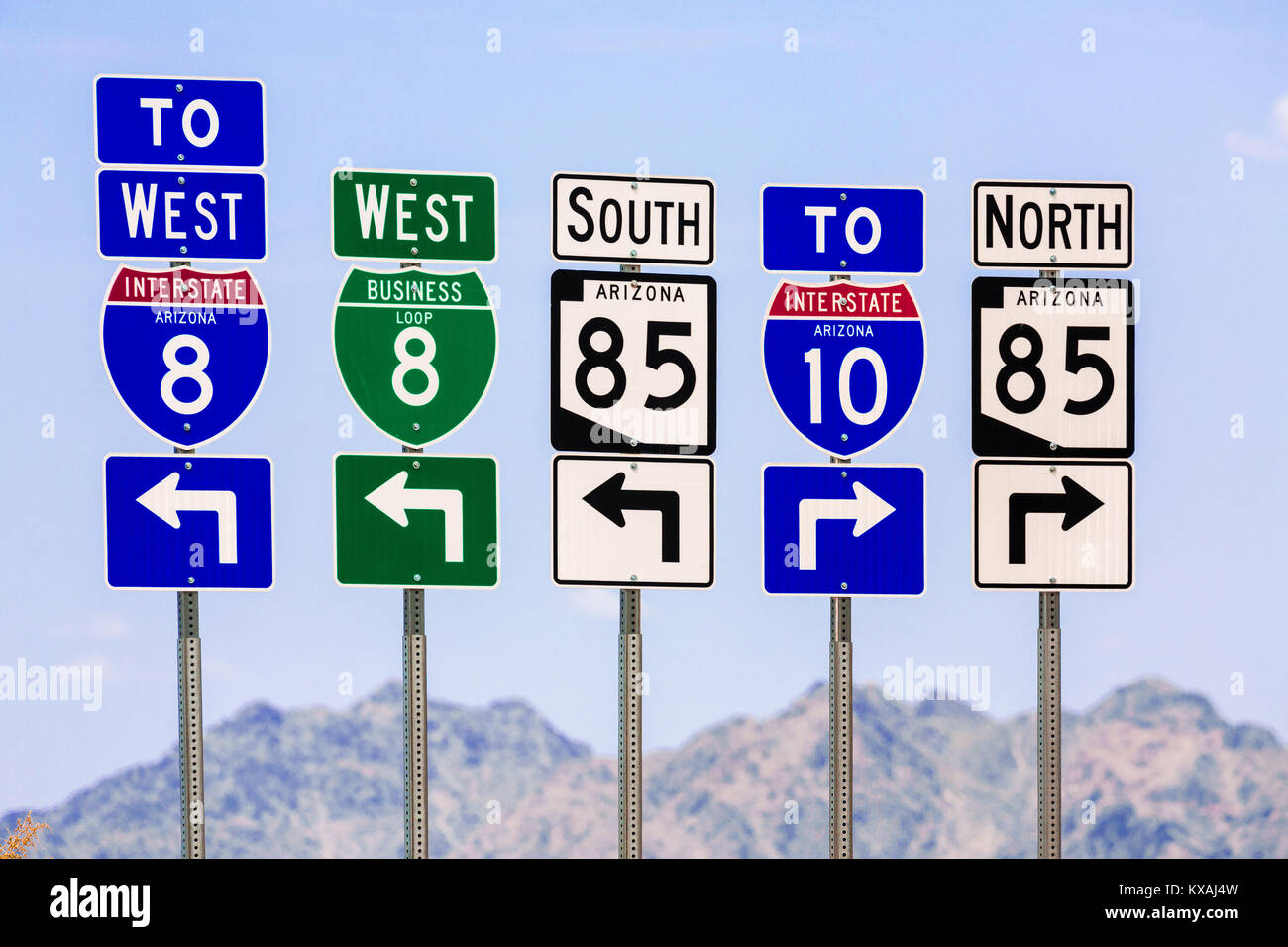 American road signs, Arizona, USA - Stock Image