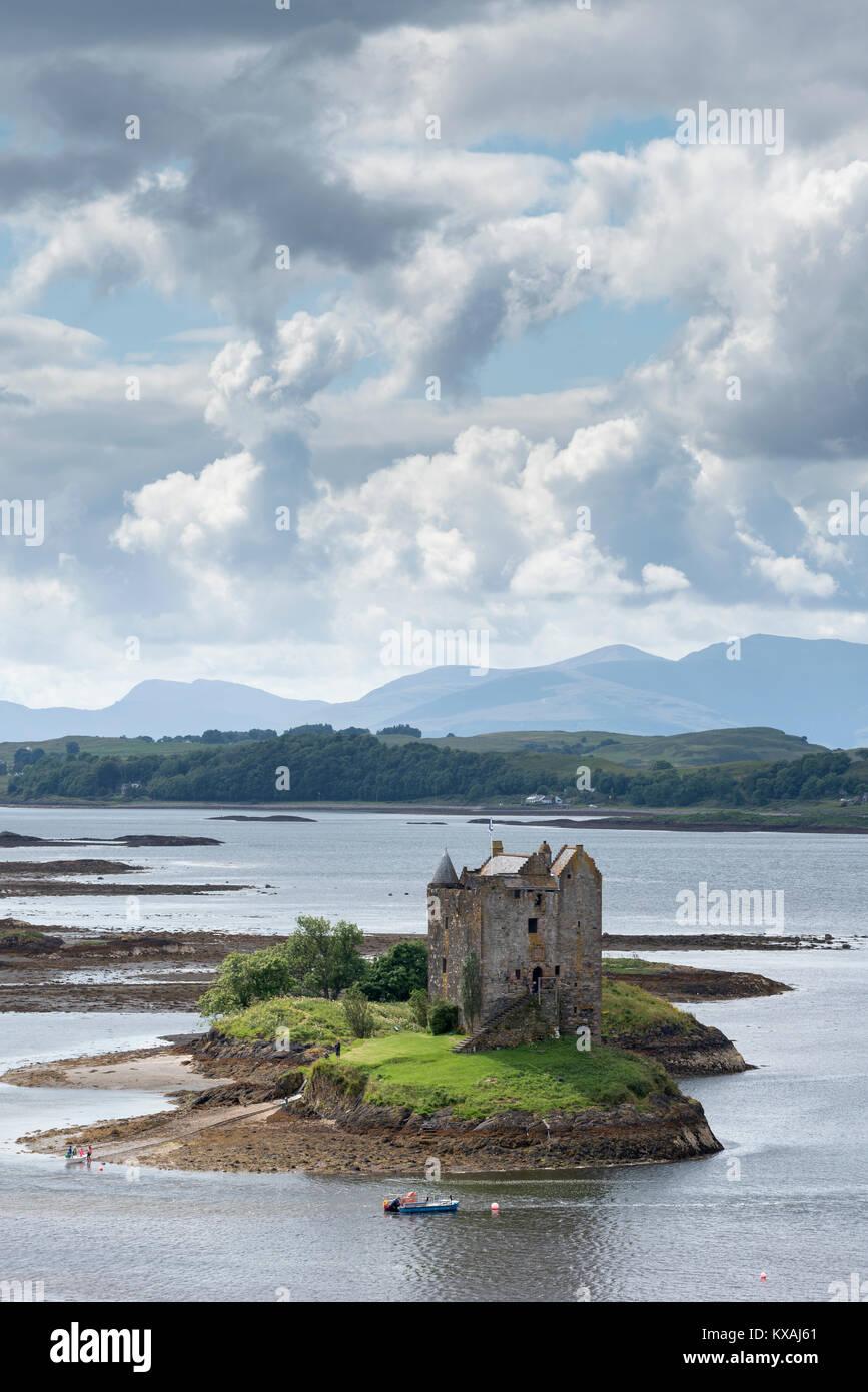 Castle Stalker in Loch Laich, Scotland, Great Britain - Stock Image