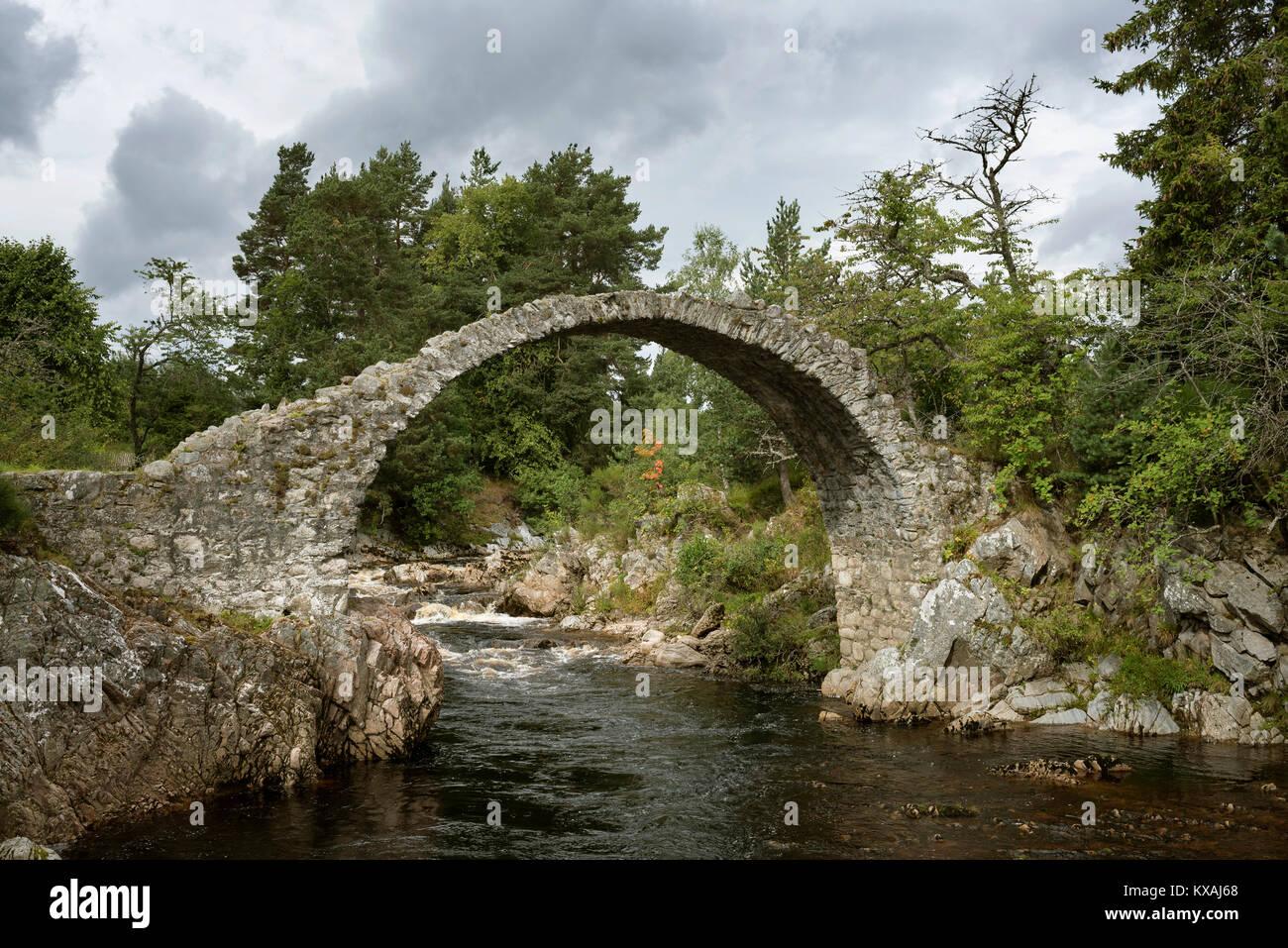 Old stone bridge, built in 1717, Highlands, Carrbridge, Cairngorms National Park, Scotland, Great Britain - Stock Image