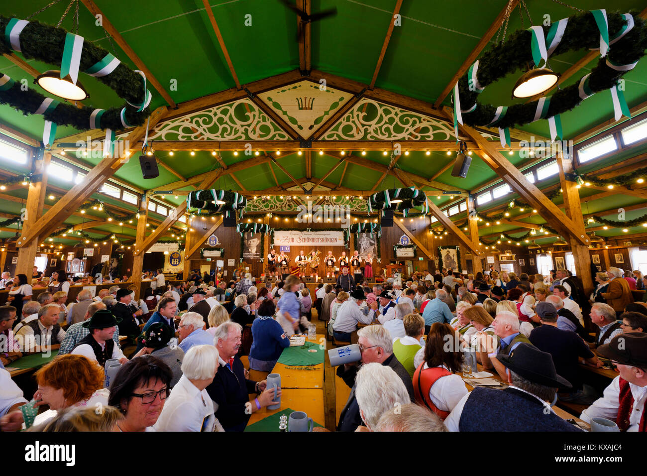 Marquee At the Beauty Queen on Oide Wiesn, Oktoberfest, Munich, Upper Bavaria, Bavaria, Germany - Stock Image