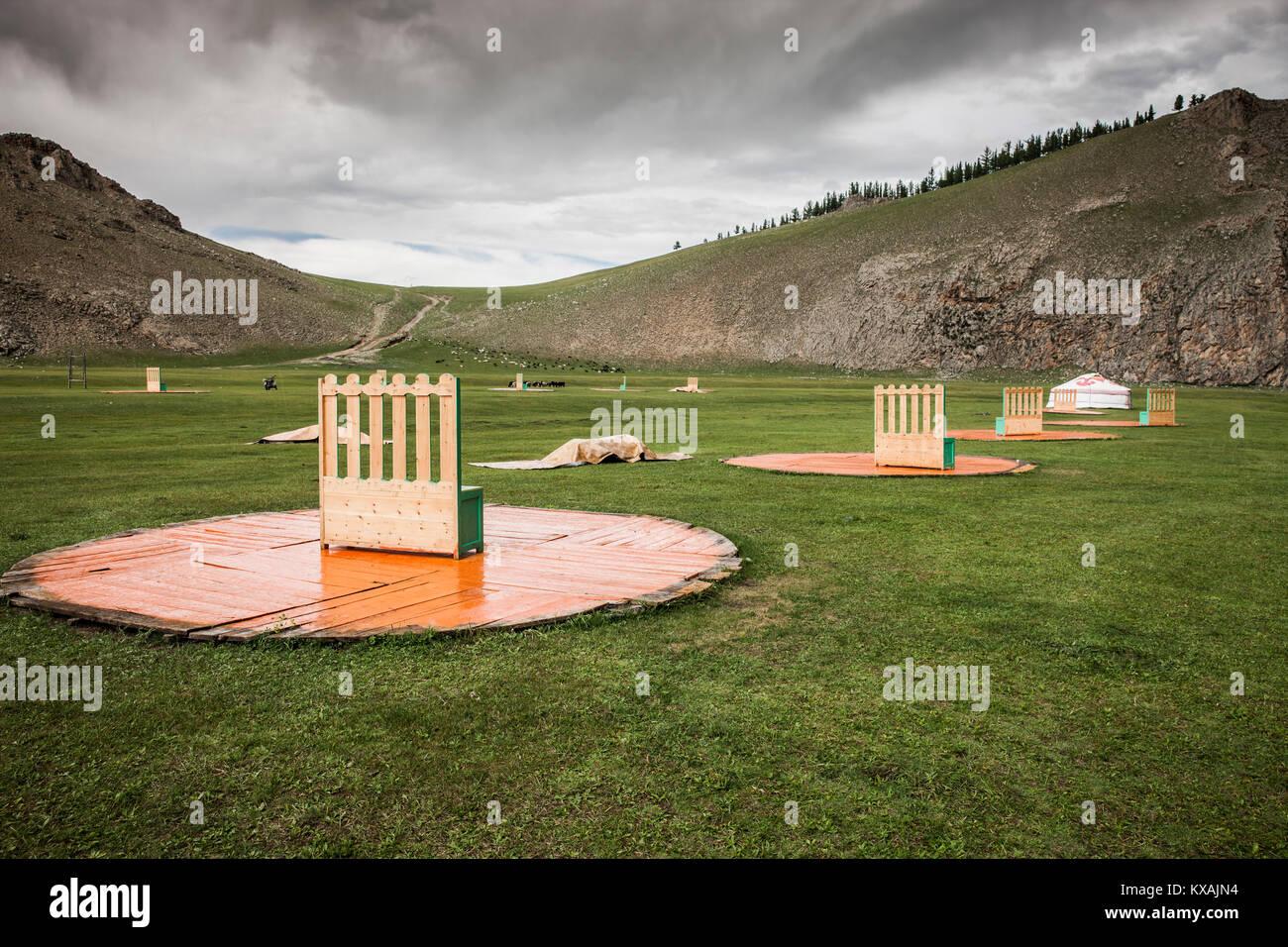 Dismantled ger (yurt) camp at end of 2017 Summer Trip, Bunkhan, Bulgan, Mongolia - Stock Image