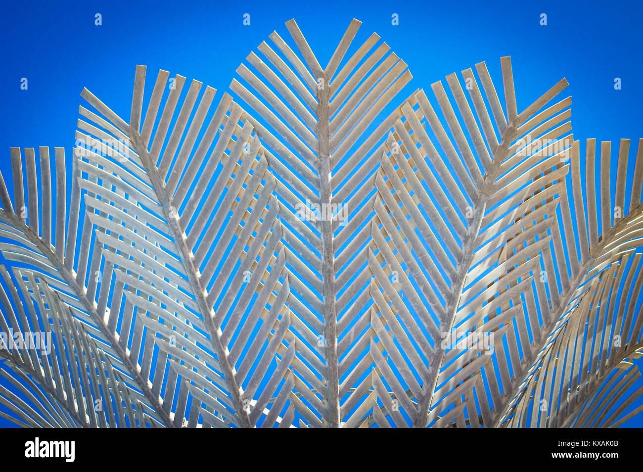 Wellington, New Zealand - 28 September 2015: Nikau is one of fifteen stylised nikau palm trees designed by architect - Stock Image
