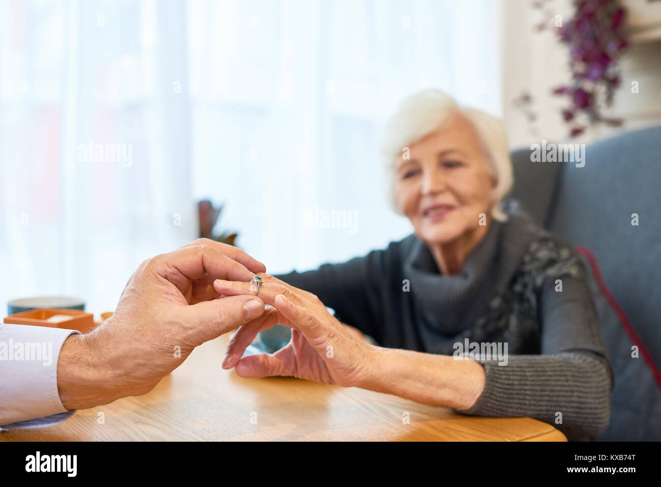 Engagement of Loving Senior Couple - Stock Image