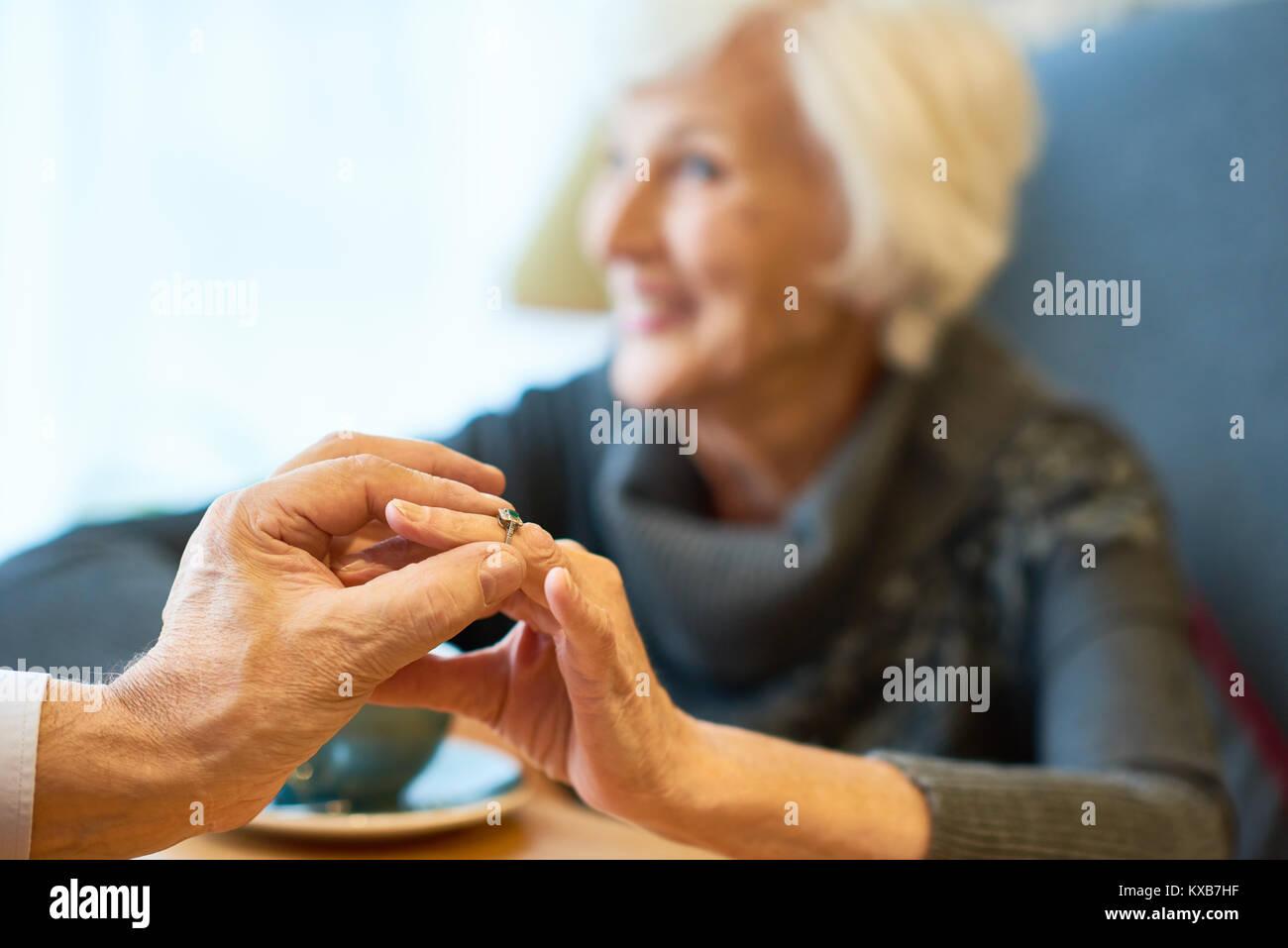 Momentous Event of Elderly Couple Stock Photo