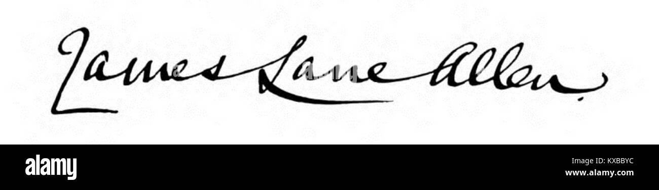 James Lane Allen's Signature - Stock Image