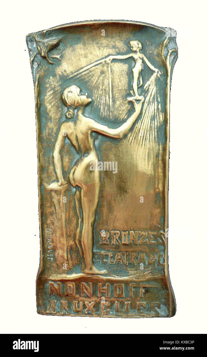 Jean Mich, «Bronzes Éclairage» - Publizitéit fir d'Géisserei Nonhoff Bréissel-101 Stock Photo