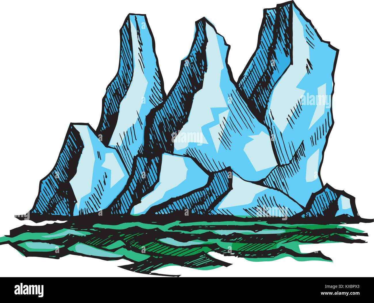 Iceberg above the water - Stock Vector