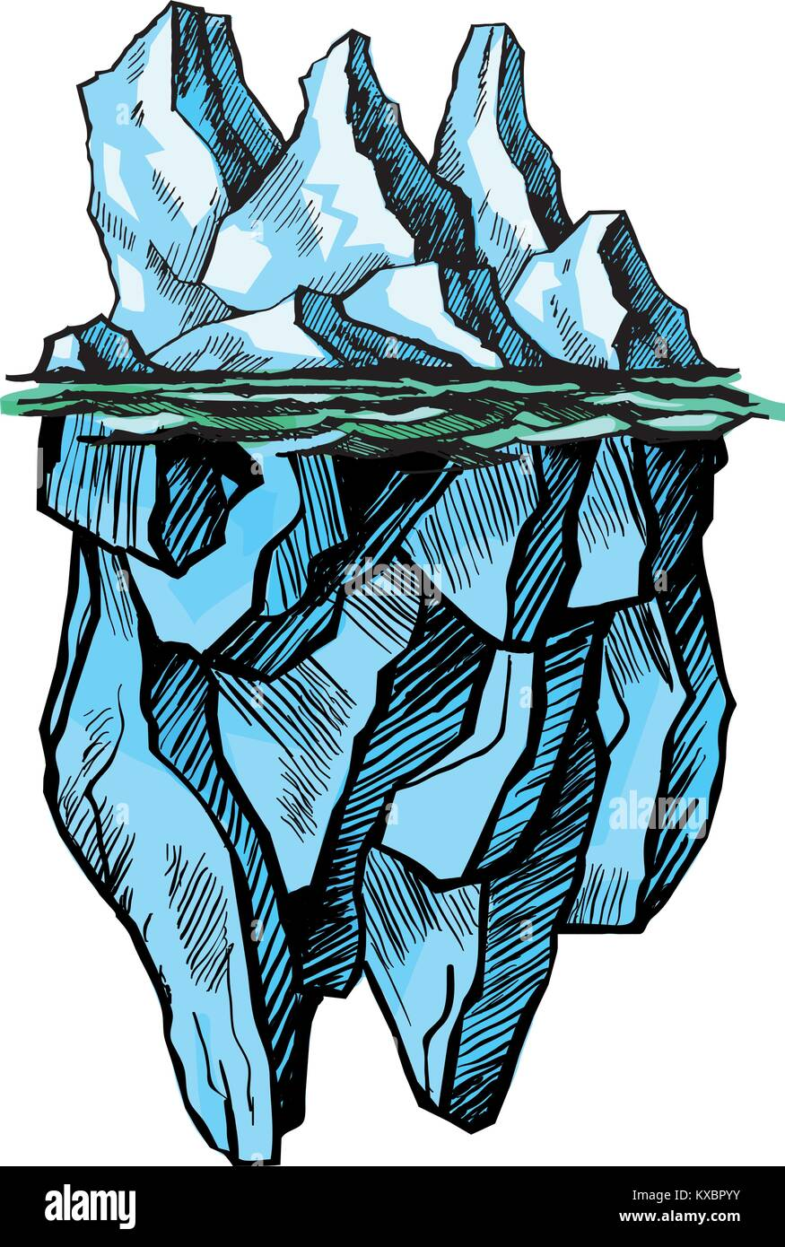 Iceberg is above the water - Stock Vector
