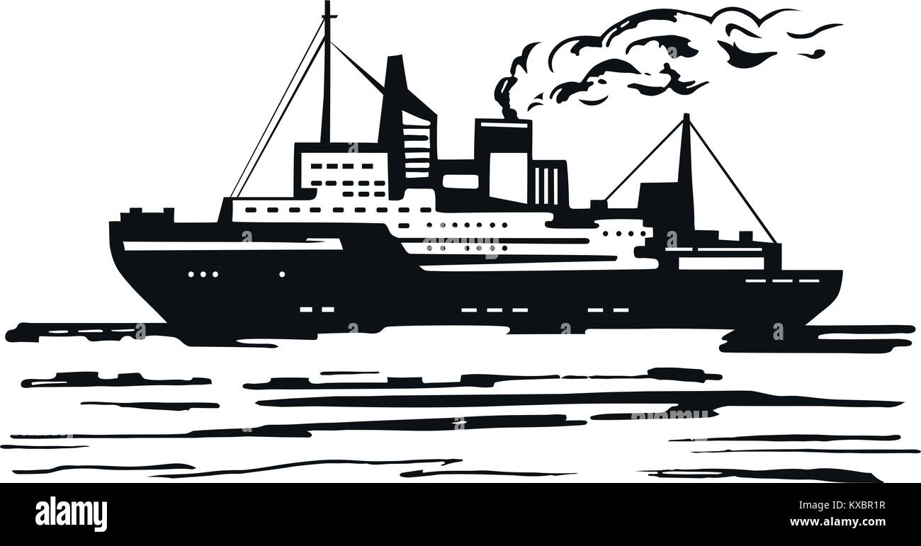 Icebreaker breaks ice - Stock Vector