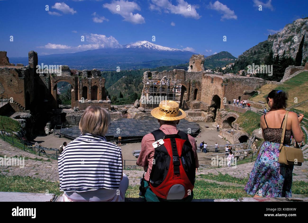 Taormina, Teatro Greco Romano, Sicily, ITALY, Europe - Stock Image