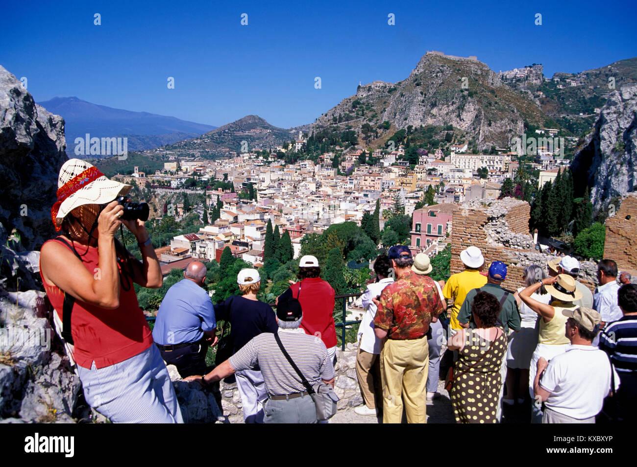 Taormina, view from Teatro Greco to Aetna, Sicily, ITALY, Europe - Stock Image