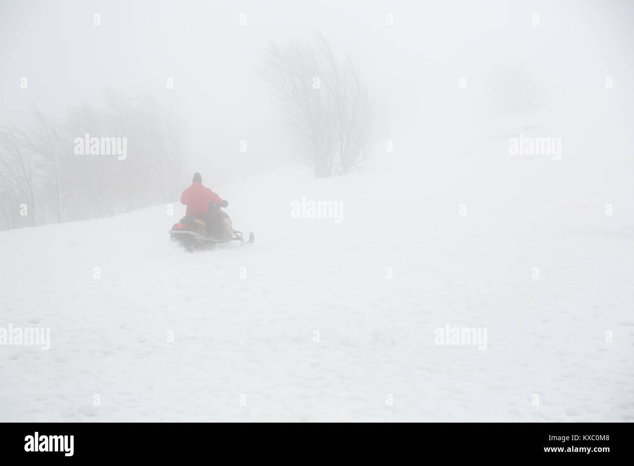 Snowmobile rider goes uphill in foggy weather. - Stock Image