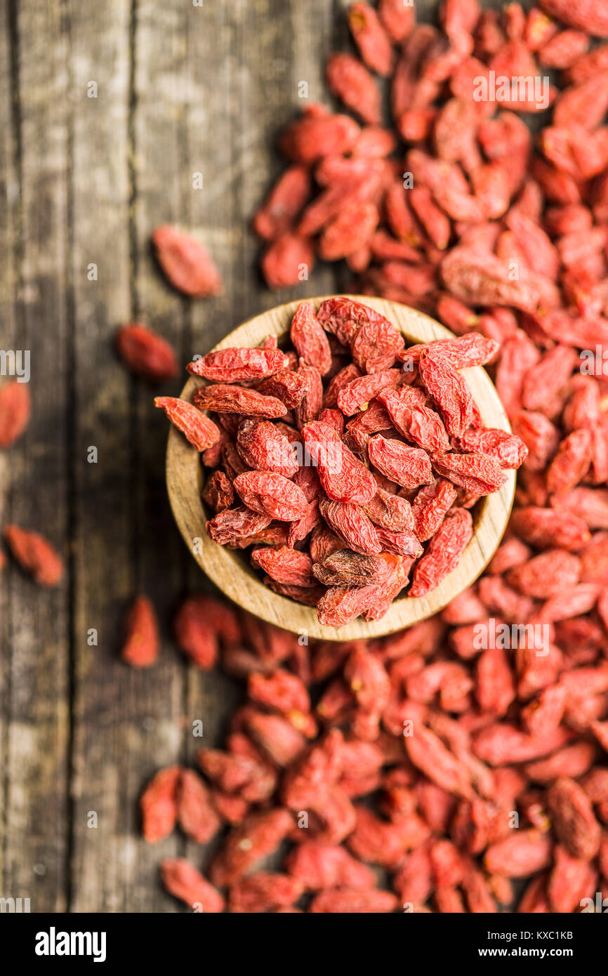 Dried goji berries in bowl on wooden background Stock Photo