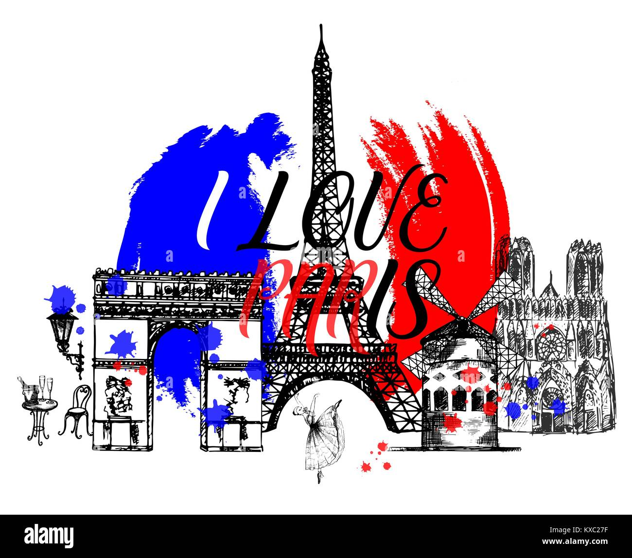 Set of hand drawn sketch style France themed objects. Vector illustration isolated on white background. - Stock Image