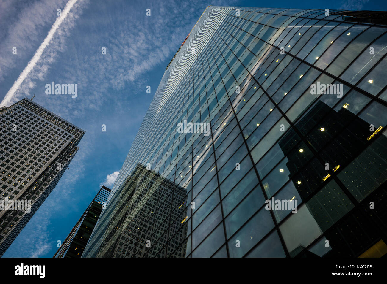 Office buildings in Canary Wharf, a major business district in London, United Kingdom - Stock Image