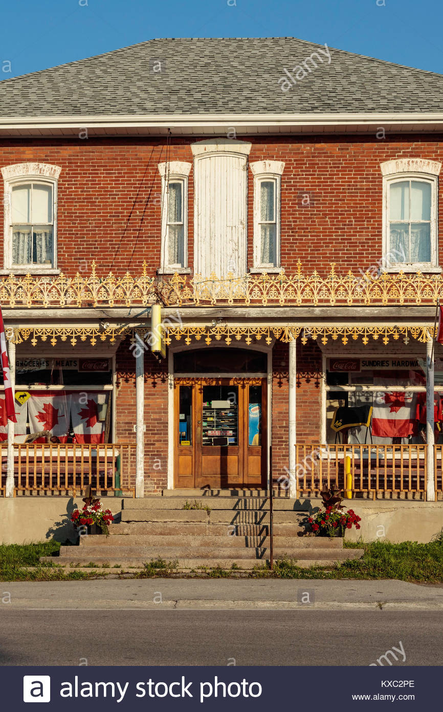 general store country store fretwork general merchant Robins general merchants Roseneath Ontario Canada - Stock Image