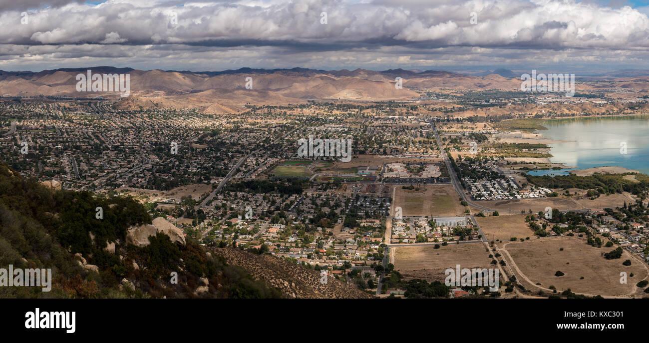 Panorama of Lake Elsinore in California Stock Photo