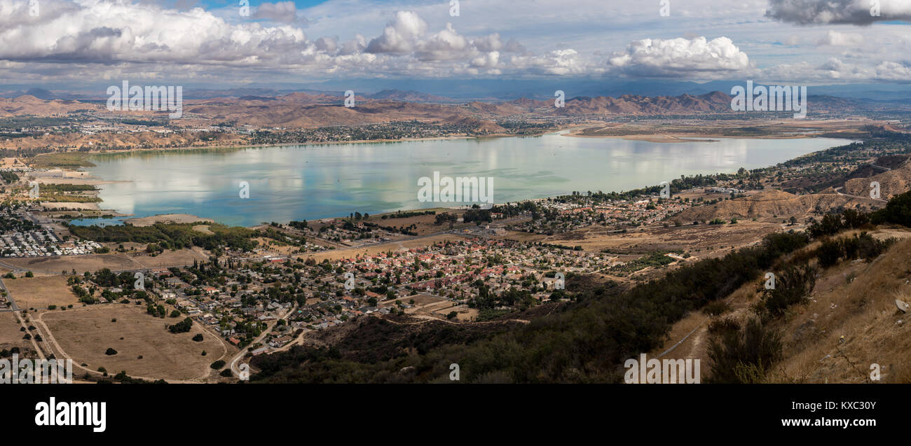 Panorama of Lake Elsinore in California Stock Photo