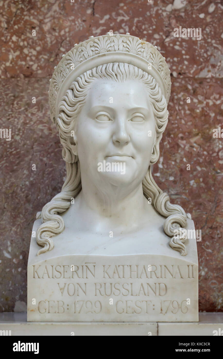 Empress Catherine the Great of Russia. Marble bust by German sculptor August Julius Wredow (1830) on display in Stock Photo