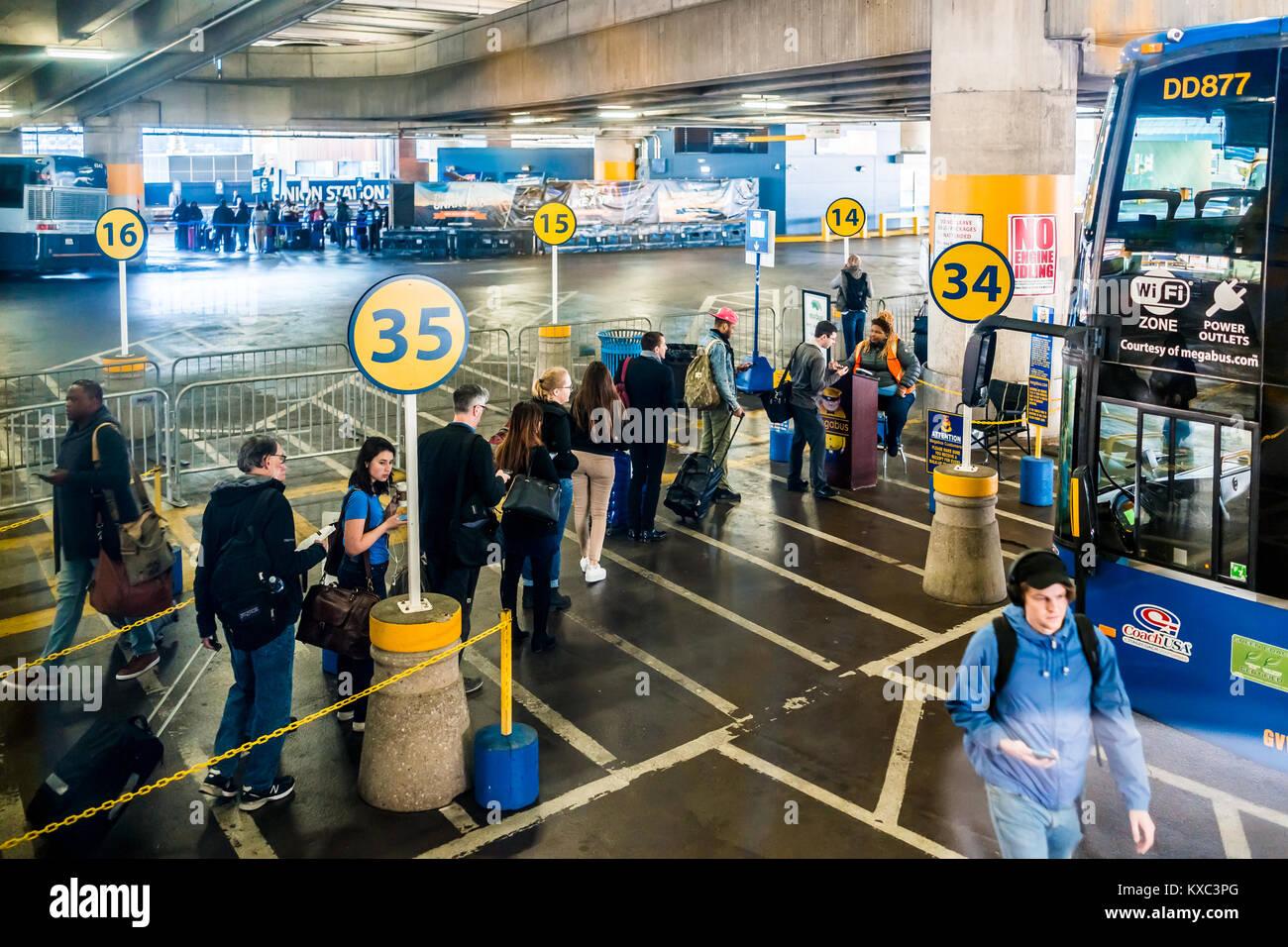 Washington DC, USA - October 27, 2017: Inside Union Station parking