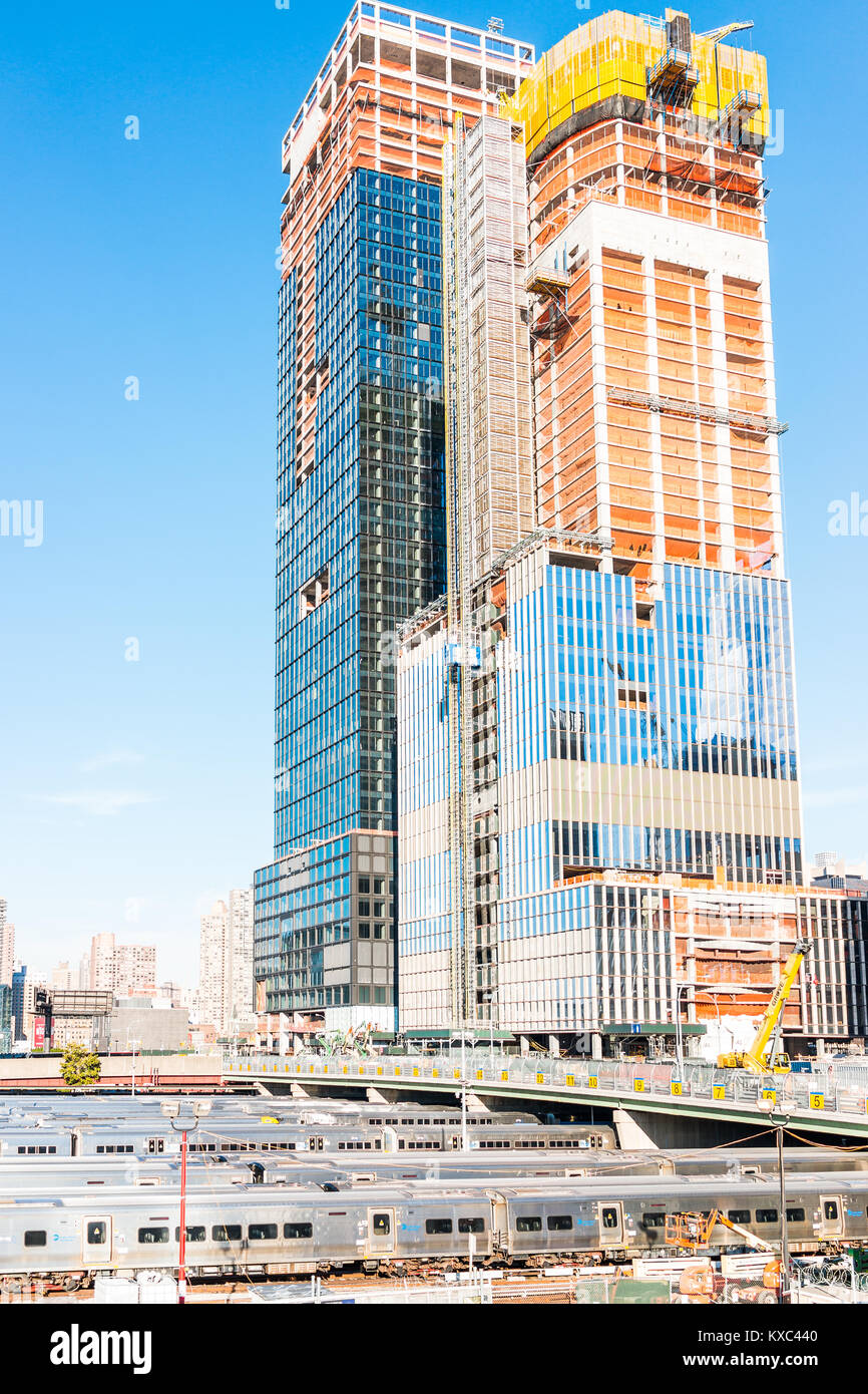 New York City, USA - October 27, 2017: View of the Hudson Yards train depot and building development from the High Stock Photo