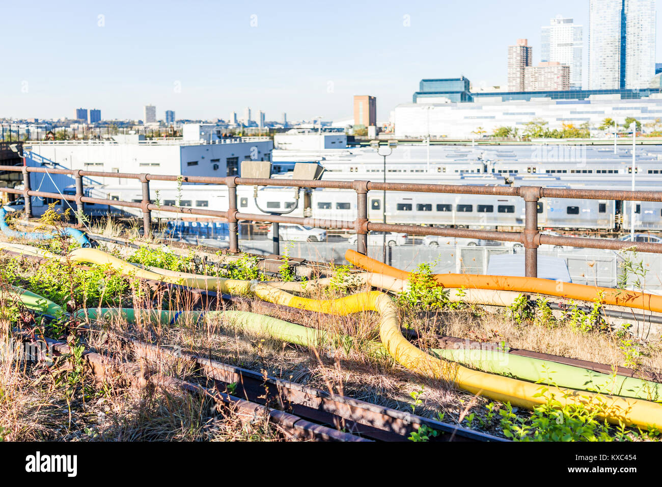 View of the Hudson Yards train depot and building development from the High Line, an elevated urban park in New Stock Photo