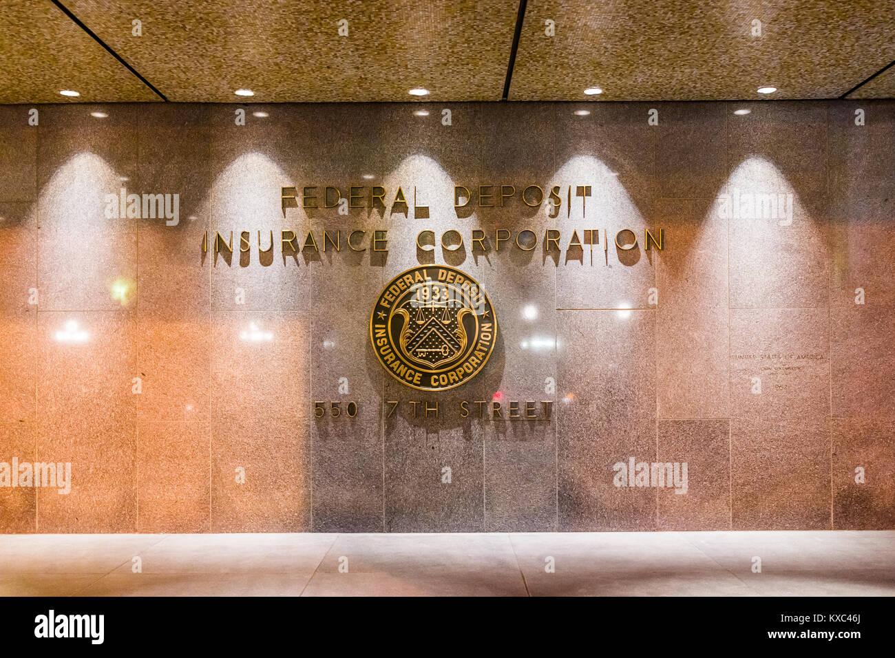 Washington DC, USA - December 28, 2017: FDIC United States Federal Deposit Insurance Corporation sign on wall of - Stock Image