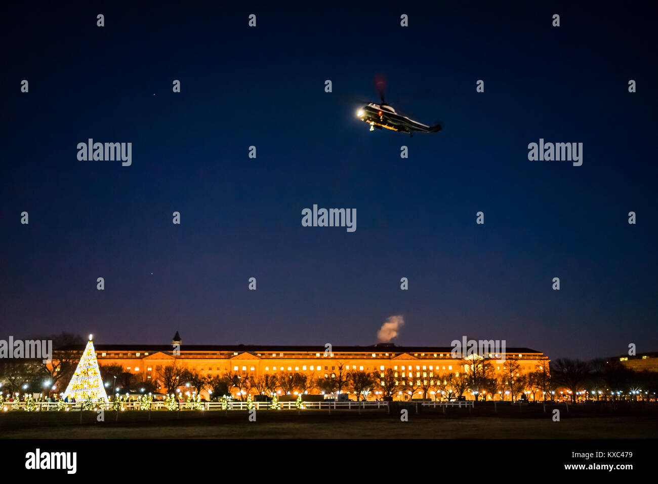 Washington DC, USA - December 28, 2017: President Donald J. Trump's Marine One helicopter flying landing by - Stock Image