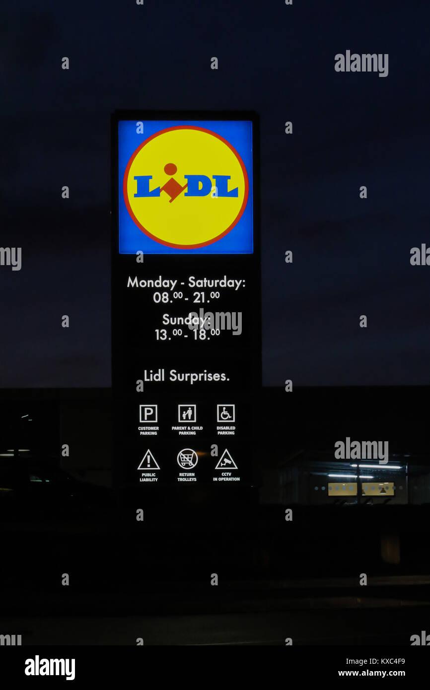 Lidl sign at Lidl Supermarket - Stock Image