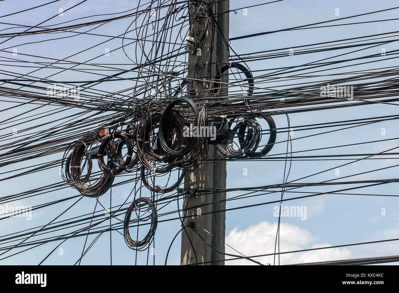 Messy wires attached to the electric mast. The chaos of cables and ...