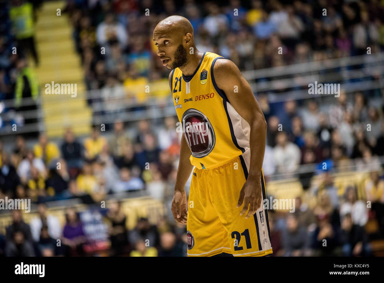 Turin, Italy. 07th Jan, 2018. Andre Jones (Fiat Torino Auxilium) during the Serie A Basketball Match Fiat Torino Stock Photo