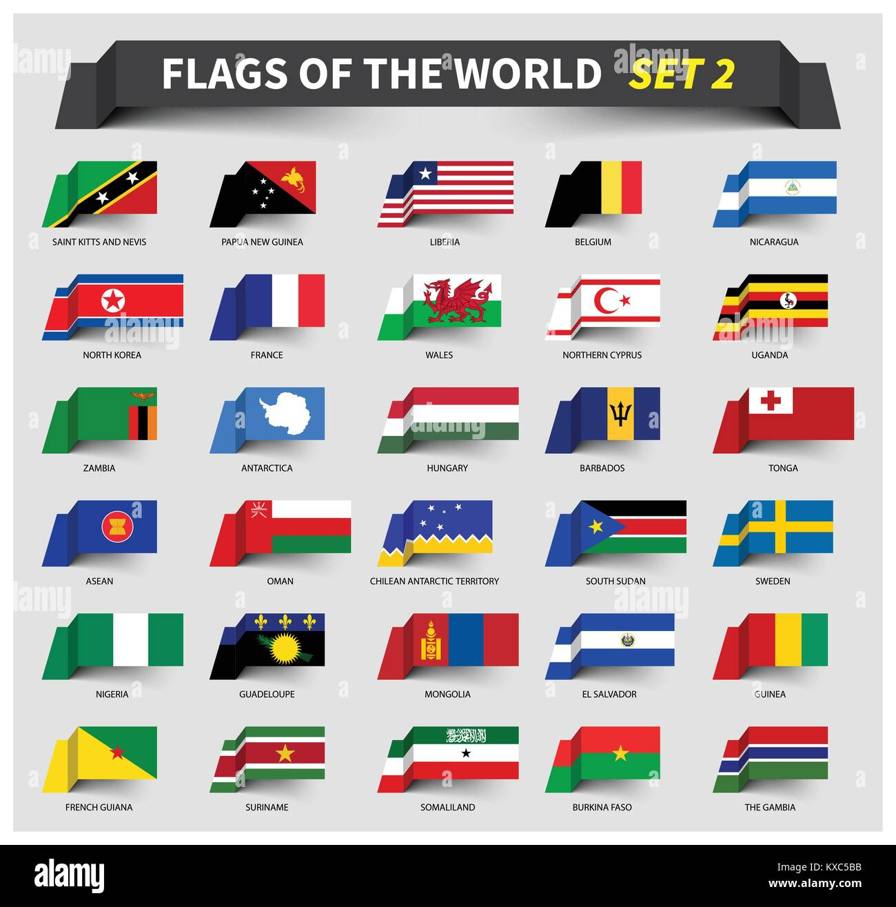 All flags of the world set 2 . Waving ribbon style . - Stock Vector
