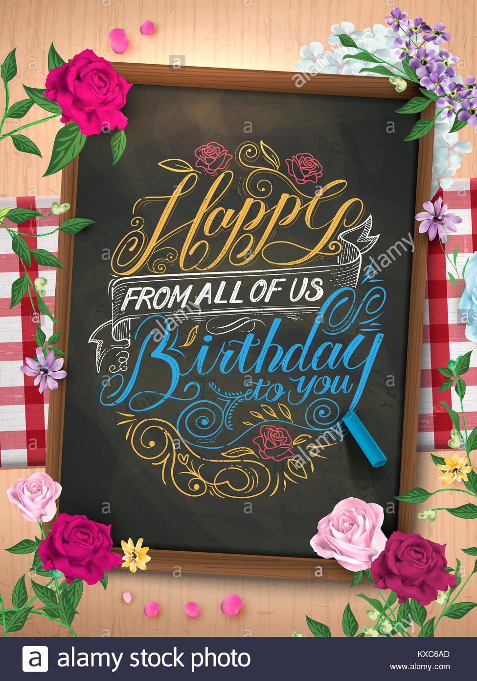 Beautiful Happy Birthday Calligraphy Poster Design Over Chalkboard