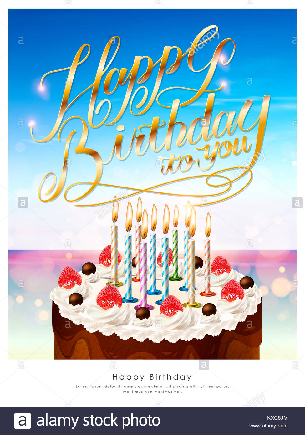 happy birthday poster template design with delicious cake stock