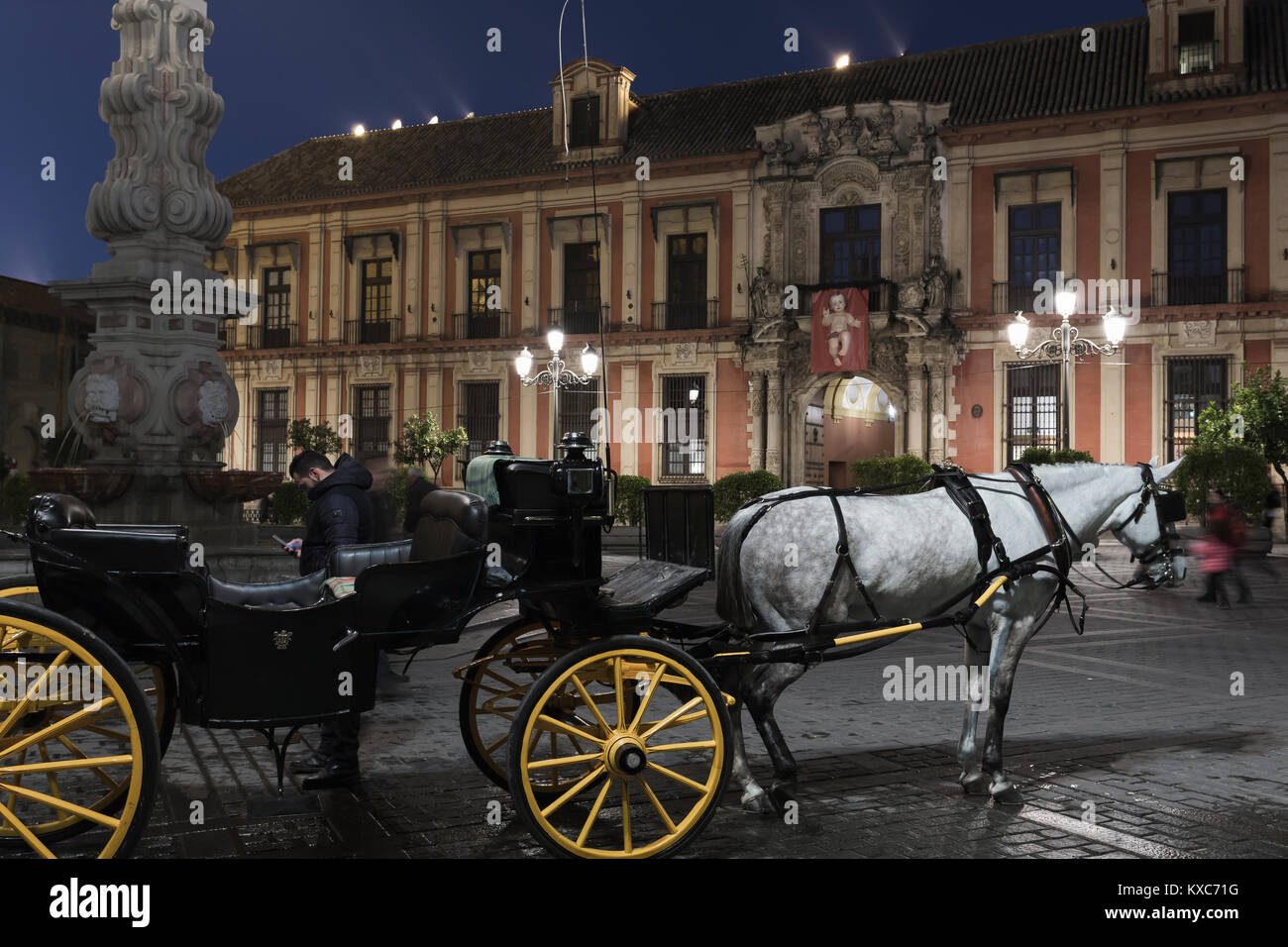 Horse and carriage in Plaza Virgen de los Reyes, Seville, Andalusia, Spain. - Stock Image