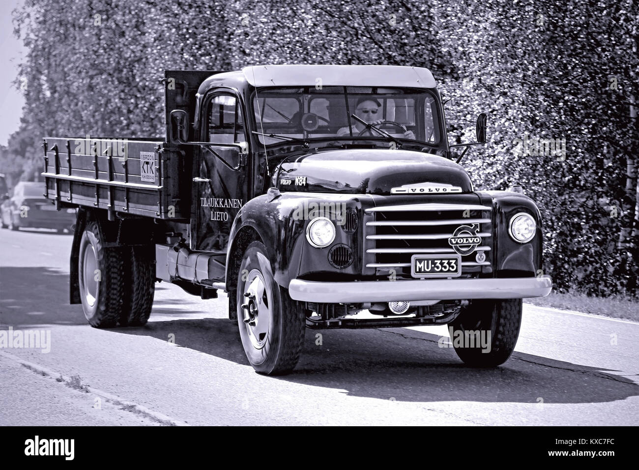KOSKI TL, FINLAND - JULY 26, 2014: Classic Volvo N84 truck  year 1966 on the road, photo converted in black and Stock Photo