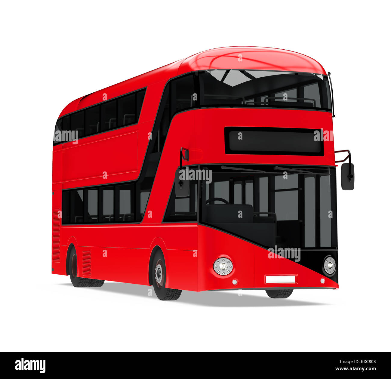 New London Double Decker Bus Isolated - Stock Image