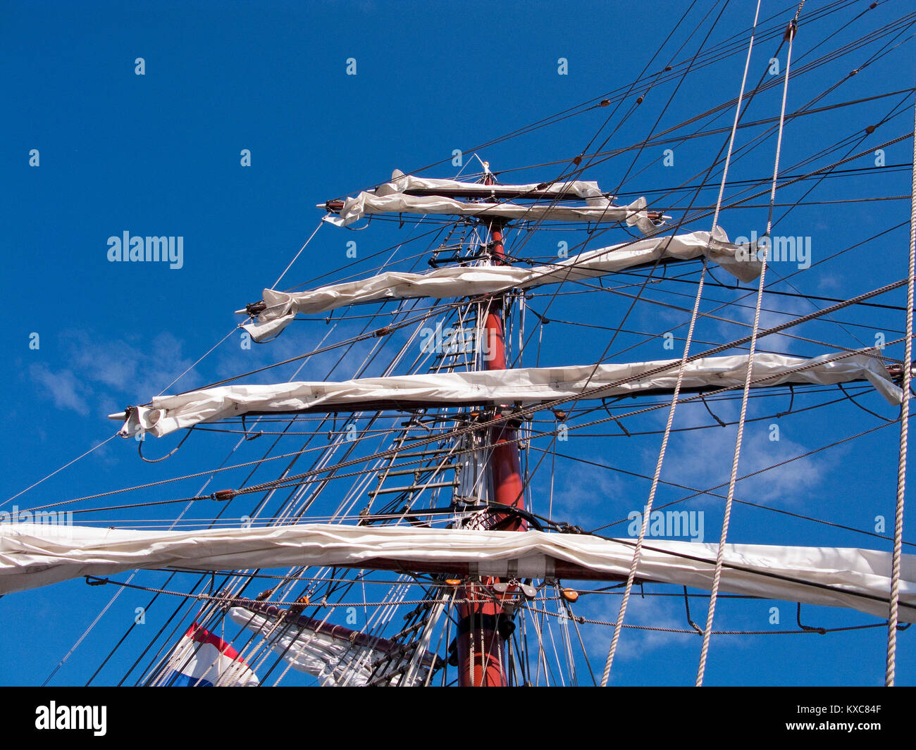 Mast and sails of the square-rigged ship 'Aphrodite', Zingst, Zingster Strom, Fishland, Mecklenburg-Western - Stock Image