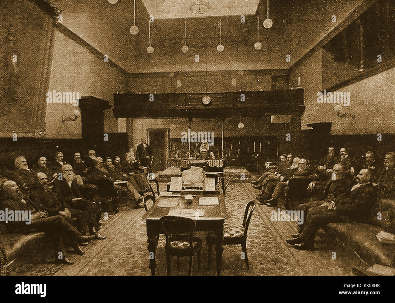 TASMANIA GOVERNMENT - PARLIAMENT . An old illustration showing the Tasmania House of Assembly in Session circa 1900 - Stock Image