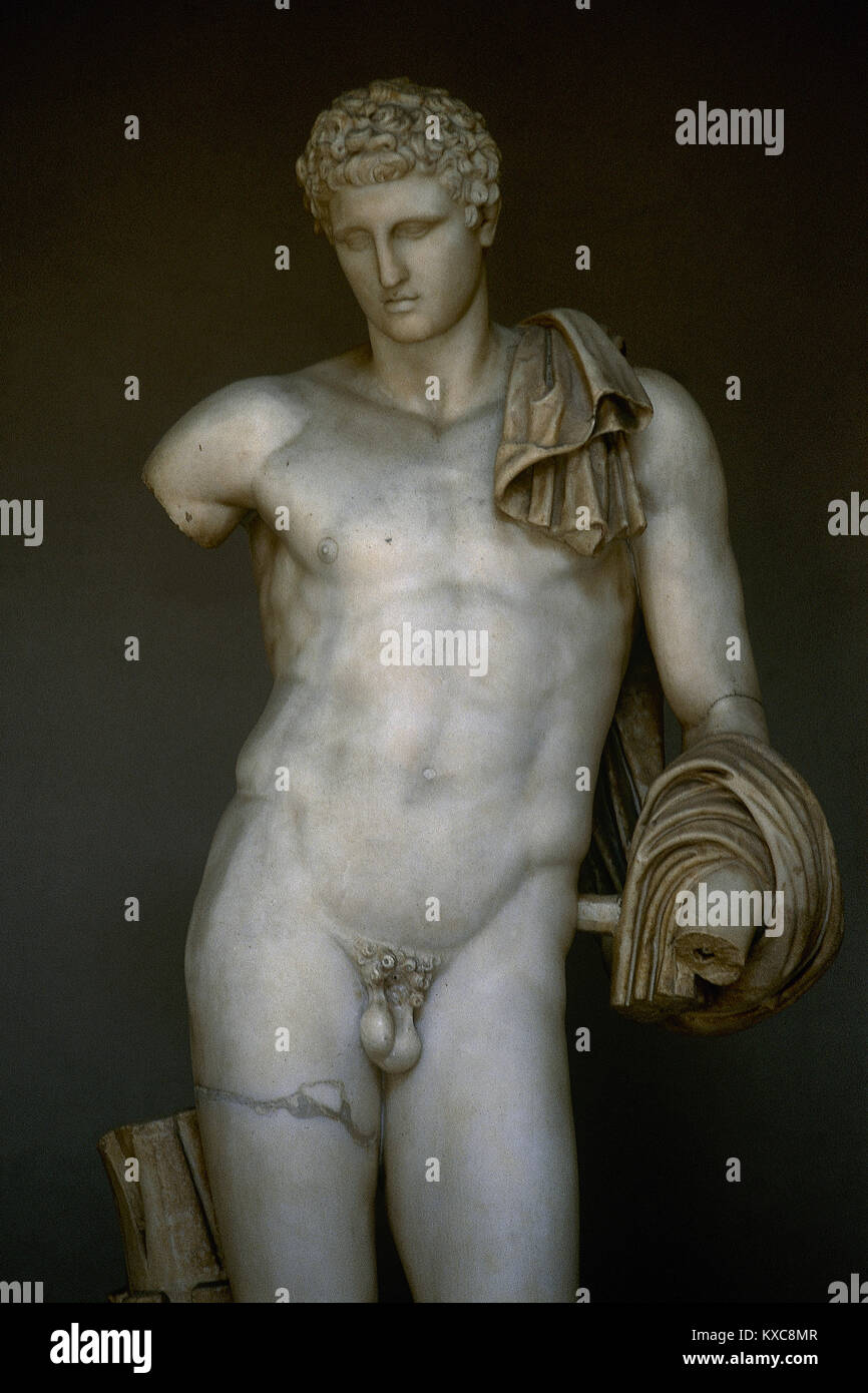 Hermes of the Museo Pio-Clementino or Belvedere Antinous. Roman copy (2nd century) of an original Greek School of - Stock Image