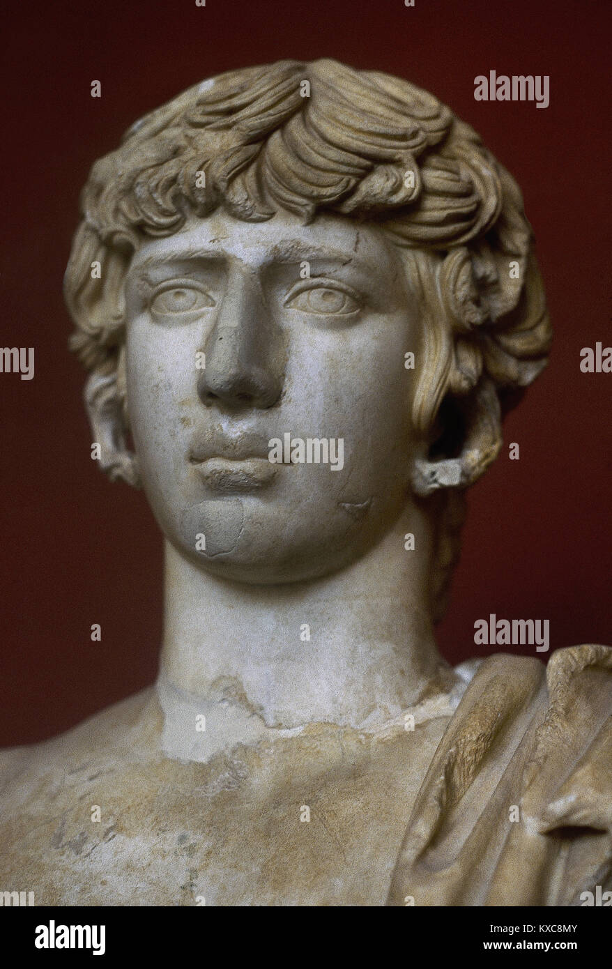 Antinous (111-130). Bithynian Greek youth and a favourite of emperor Hadrian. From Eleusis, Greece. Archaeological - Stock Image
