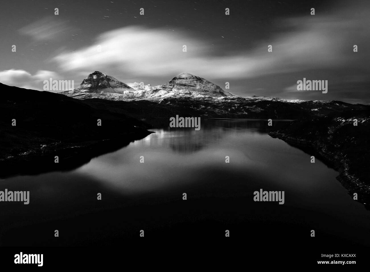 Quinag viewed from Kylesku Bridge ( Black and White) - Stock Image