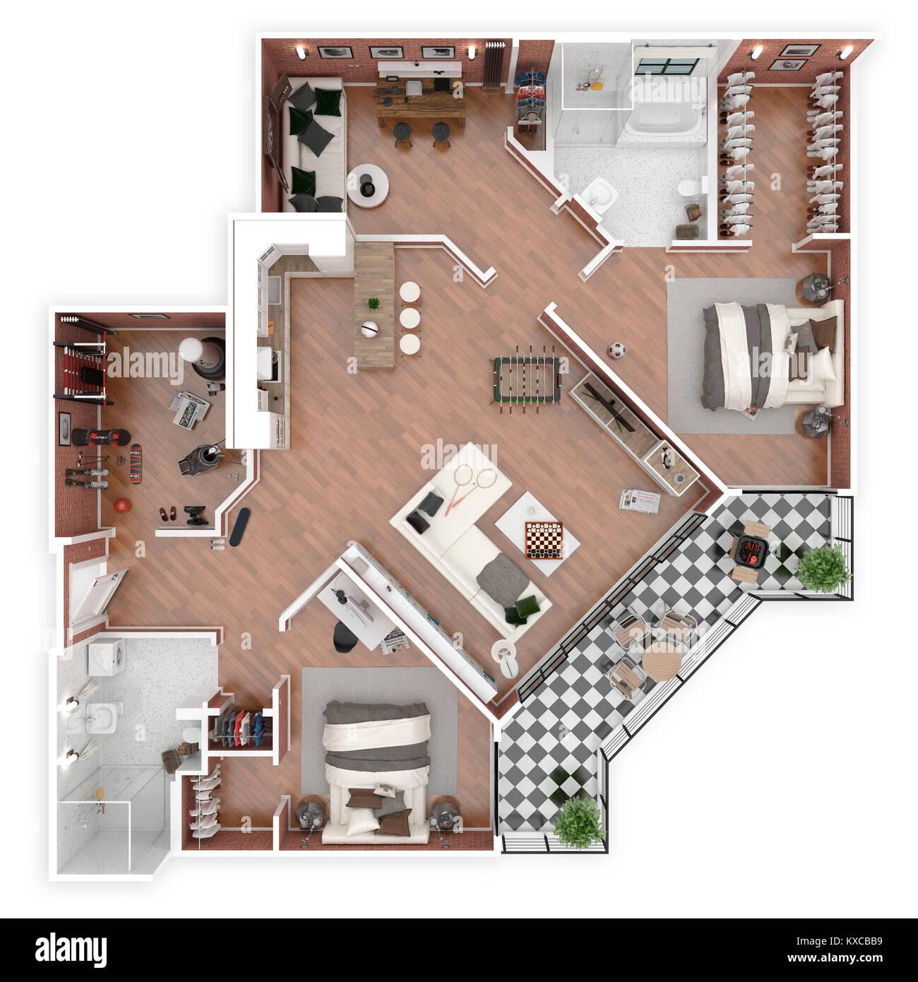 Floor plan of a house top view 3d illustration open - Planos de casa en 3d ...