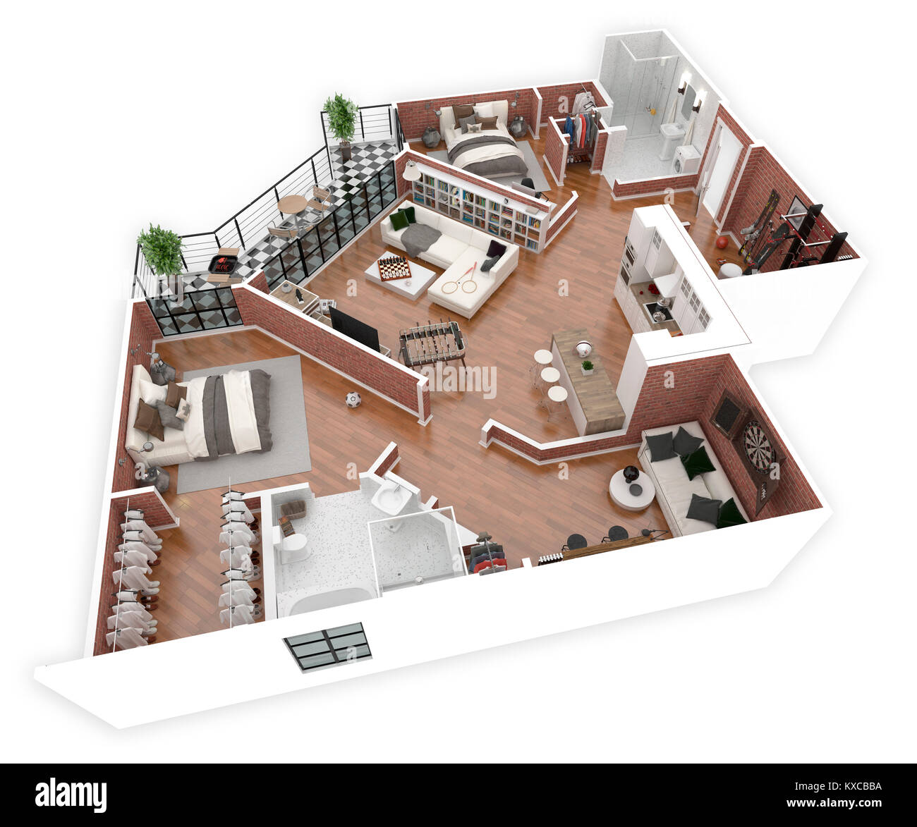 Floor plan of a house top view 3d illustration open concept living stock photo 171146734 alamy - Plan 3d salon ...