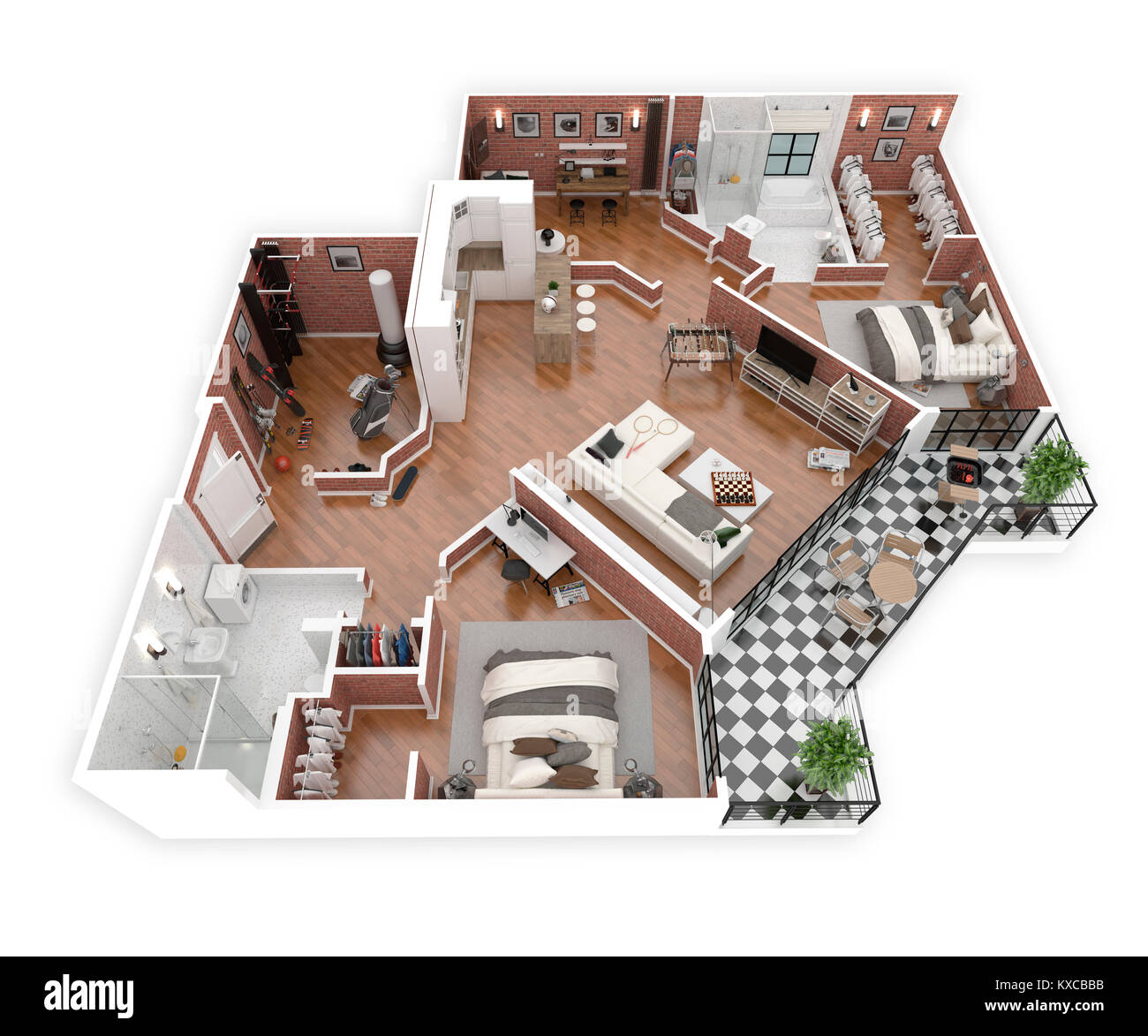 Floor Plan Of A House Top View 3d Illustration Open Concept