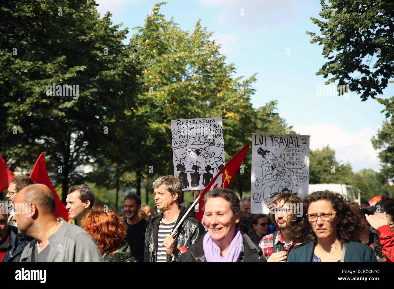 """Paris, France. 12th Sep, 2017. Today ten thousands or even more protested against the so called """"loi travail XXL"""" Stock Photo"""