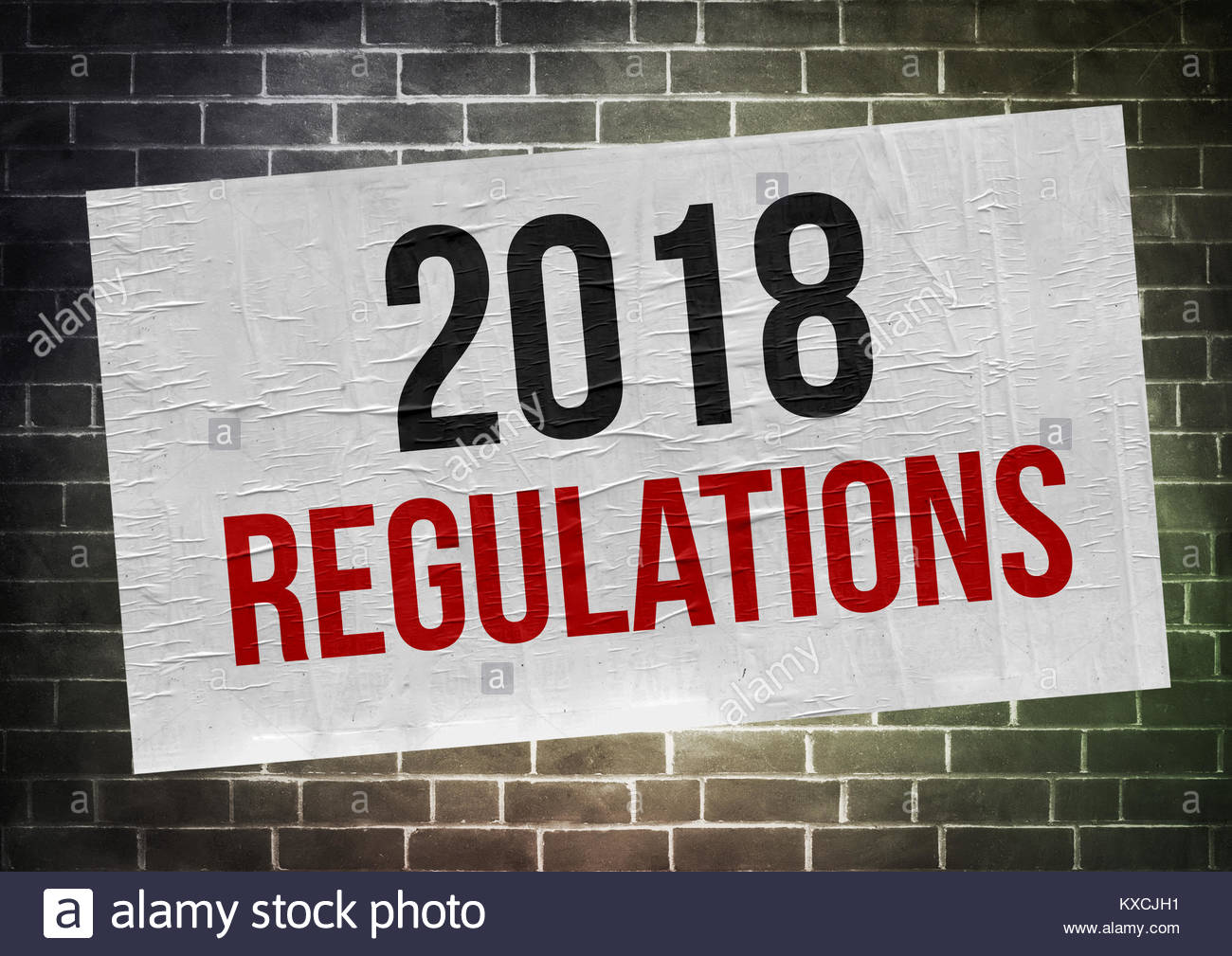2018 Regulations - poster concept - Stock Image