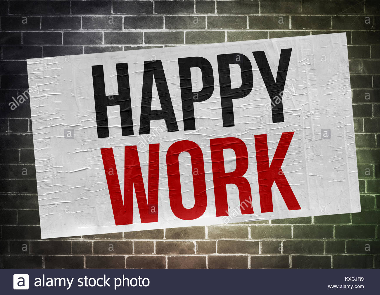 happy work - poster concept - Stock Image