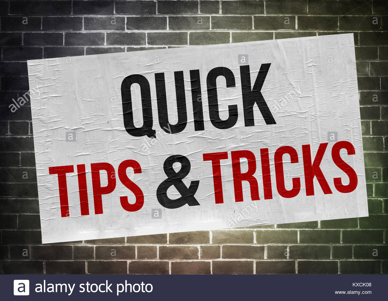 Quick tips and tricks - poster concept - Stock Image