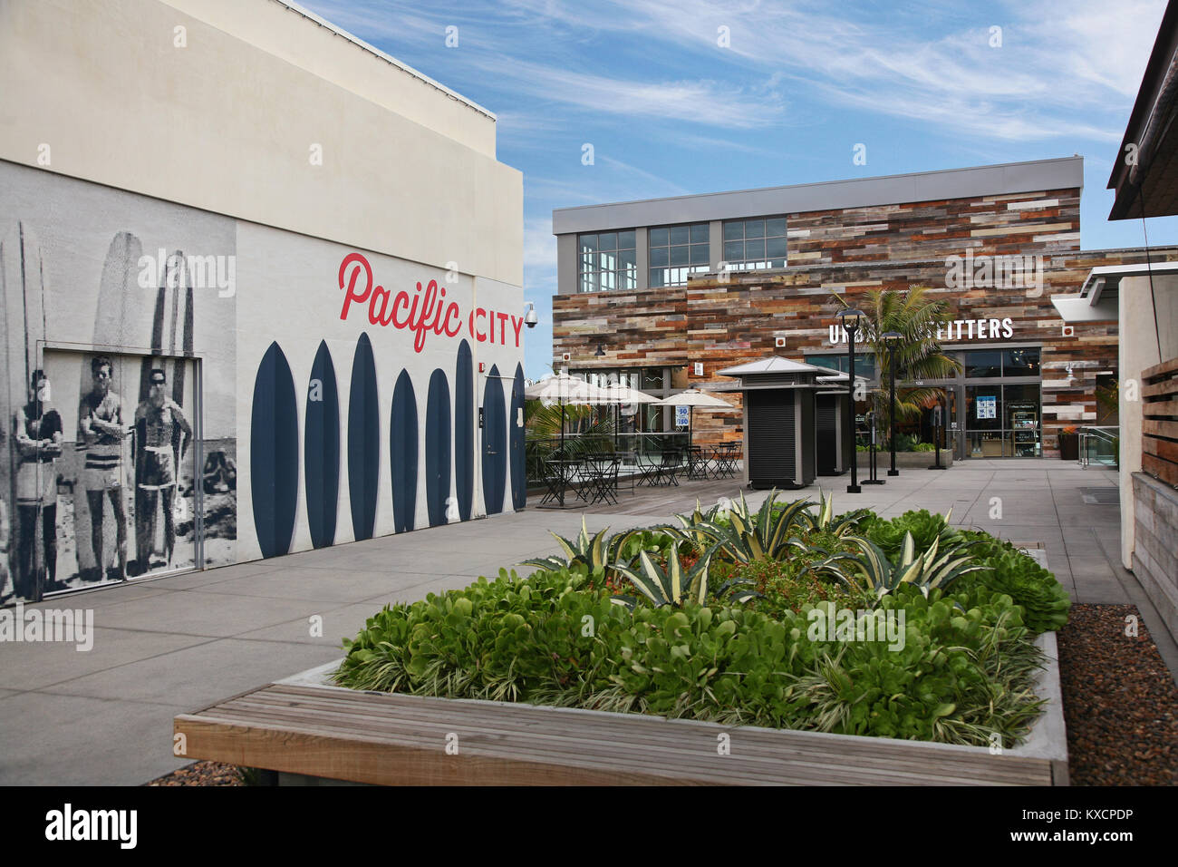 Pacific City, Huntington Beach, shopping, mall, new shopping center, PCH - Stock Image